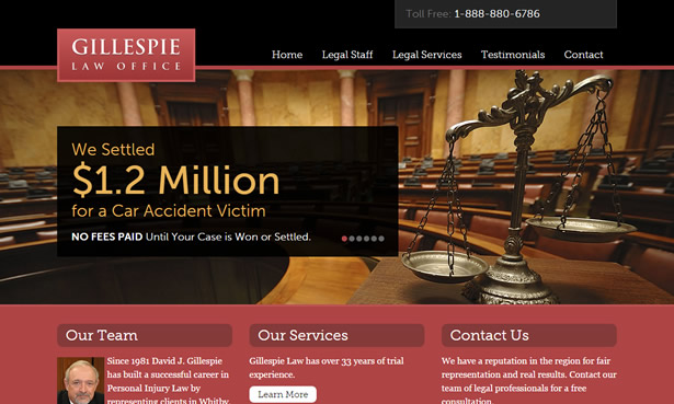 Gillespie Law Office web design